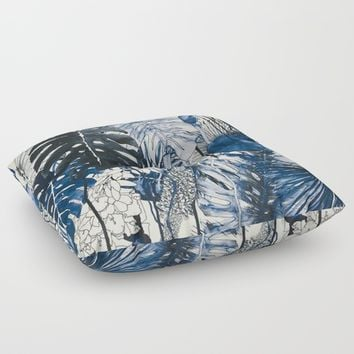 Tropical Plants Floor Pillow by Salome