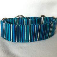 "Felicity Stripe Teal Martingale or Quick Release 5/8"" Quick Release 3/4"" 1"" Martingale 1.5"" Martingale 2"""