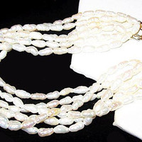 """Pearl Wedding Bracelet 6 Rows Cultured Blister Pearls Fancy Gold  Clasp 9"""" Vintage"""