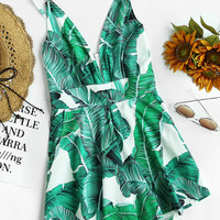 Palm Leaf Print Plunging Zipper Back Cami Romper