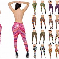 PRINTED HAREM LEGGINGS PANTS BELTED SILKY STRETCHY 12 COLORS ANIMAL SNAKE NEON..