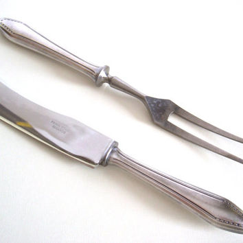 1930s silver plated Art Deco meat serving set - Meat fork and meat knife - Silver plated flatware - Art Deco flatware - Pre-war silverware