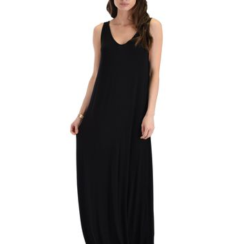 Lyss Loo Lost In Paradise Sleeveless Deep V-Neck Black Shift Maxi Dress