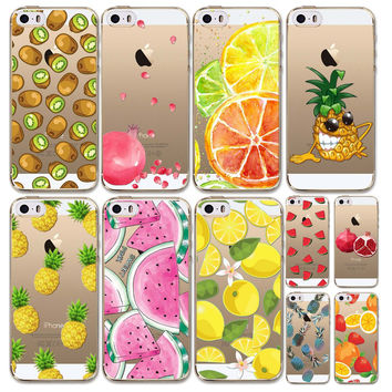 Case Cover For iphone 5 5s SE 4 4s 5C Fruits Pineapple Watermelon Cherry Painted  Transparent TPU Silicon Luxury Phone Cases