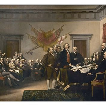 Declaration of Independence Picture on Large Canvas Hung on Copper Rod, Ready to Hang, Wall Art Décor