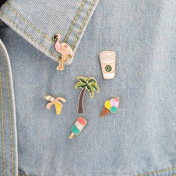 Trendy 1 pcs cartoon ice cream bird metal badge brooch button pins denim jacket pin jewelry decoration badge for clothes lapel pins AT_94_13