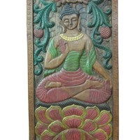 Earth Touching Buddha Enlightened Budha Yoga Meditation Decor Carved Wood 72 X 36