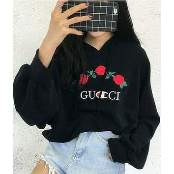 GUCCI Fashion Casual Embroidered Rose Flower Hoodie Sweatershirt Black