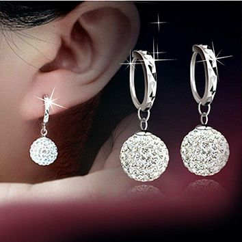Crystal Ball Pierced Drop Earrings