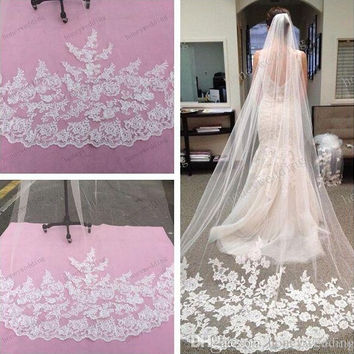 2015 Bridal Accessories Wedding Dresses Veils White Ivory Beautiful Cathedral Length Lace Edge Long Bride Veil Bridal Accessory DPH06 = 1929407172