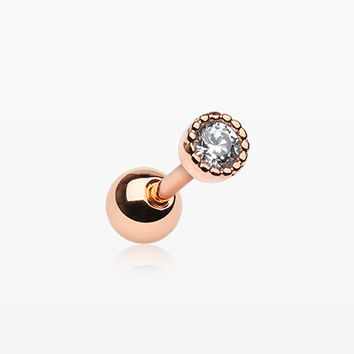 Rose Gold Dainty Circle Sparkle Cartilage Tragus Barbell