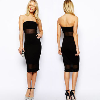Black Strapless Cutout Mesh Midi Dress