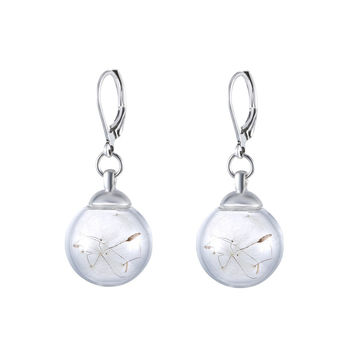 Fashion Glass Bottle with Real Dandelion Seeds Drop Earrings for Women DIY Handmade drop dangle earring Plant Seeds Inside