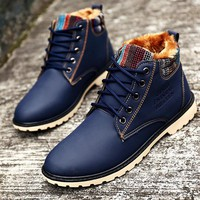 Men Winter Boots Warm Leather Blue Army Boots Fashion Waterproof Ankle Boots Plush Rub