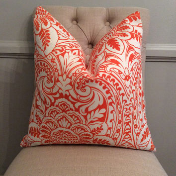 Handmade Decorative Pillow Cover - Orange - Paisley - P/K Lifestyles Tiger Lily - Indoor Outdoor