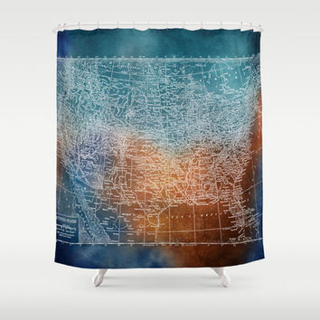 United States Map Shower Curtain - Vintage Grunge Map -  Fabric Home Decor - Bathroom -  travel, wanderlust , places, states, maps, guys