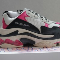 BALENCIAGA TRIPLE S 2018 PINK BLACK WHITE EU38 100% AUTHENTIC NEW WITH BOX