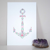 "Floral Anchor - Original Watercolor Painting 4"" x 6"""