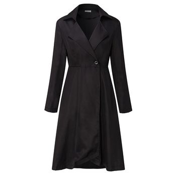 Elegant Classic Womens Coats Black Loose Overcoat Single Breasted Belted Slim Long Feminina Wrapped Dress Jacket Coat