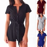 Sexy Casual Women Playsuits Rompers Short Sleeve Buttons Girls Playsuits Overalls With Belt Women's Clothing