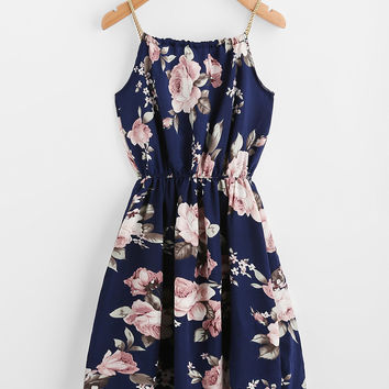 Braided Bead Strap Tie Floral Print Dress -SheIn(Sheinside)