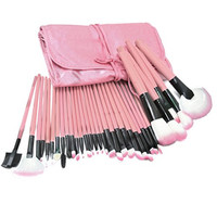 ZENITH FASHION 2015 New Pro Makup Brush set Pink Make Up Brushes 32Pcs Make Up Set Brush Tool + pink Leacher Case free shipping