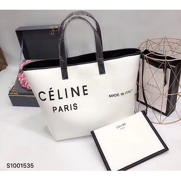 Celine 2018 new minimalistic casual style canvas holiday shopping bag canvas bag handbag F0425-1 White+black letters