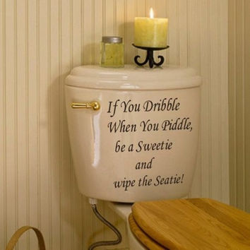 Toilet Seat Art Wall Quote Stickers Bathroom Decoration Decals Vinyl Art Decor (Size: 24.5cm by 12cm, Color: Black) = 1946233092
