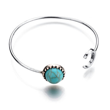 Great Deal New Arrival Hot Sale Awesome Stylish Shiny Gift Accessory Vintage Geometric Turquoise Alloy Bangle Adjustable Ring Bracelet [8581966215]