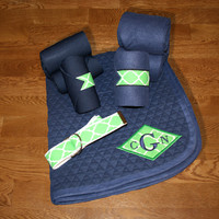 Horse Full Set - Navy with Green Quatrefoil Diamond Applique