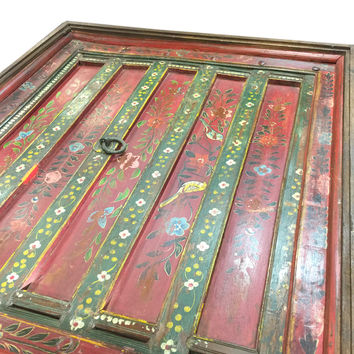 Antique Indian Furniture Coffee Table Red Floral Hand Painted Square Table