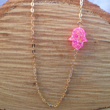 Sideways Hamsa opal charm necklace, horizontal Hamsa necklace in bubble gum hot pink opal, gold filled, celebrity style, Kabbalah
