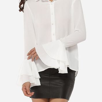 Casual Single Breasted Mandarin Sleeve Polo Collar Blended Hollow Out Plain Blouse