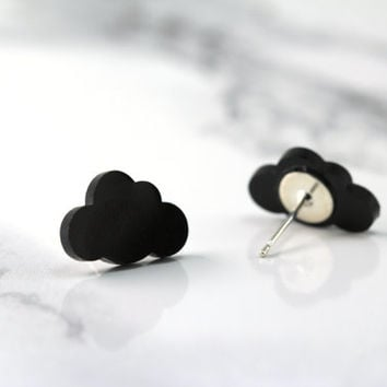 tiny black rain cloud stud earrings, minimal, minimalist, modern, sterling silver