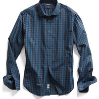 Spread Collar Dress Shirt in Blue Check