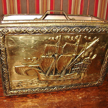 Nice Vintage Floor Magazine Rack Covered in Brass with Three Mast Ship Detail ~ Great for Record Storage