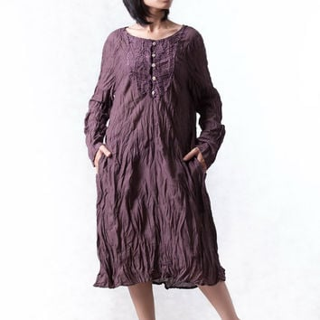 NO.133  Plum Cotton Bib Front Tunic, Long Sleeves Dress