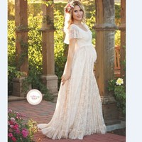 2017 Women White Skirt Maternity Photography Props Lace Pregnancy Clothes Maternity Dresses For pregnant Photo Shoot Clothing