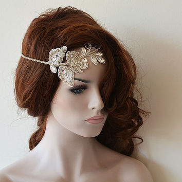 Wedding Hair Accessories, Bridal Headband, Wedding Headband, Rhinestone and Lace Headband, Wedding Headpiece, Bridal Hair Accessories