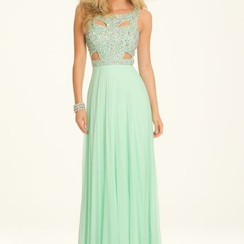 Pleated Mesh Cut Out Dress with Beaded Bodice from Camille La Vie and Group USA