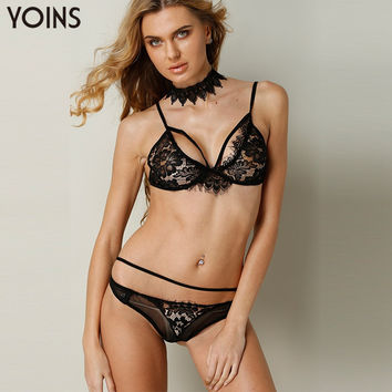 YOINS 2017 Women Fashion Sexy Lace Bra Sets Brief Style Soft Panties Straps Bralette Underwear Black Intimates Plus Size