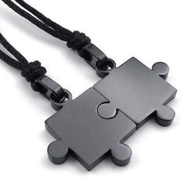 2015 Stylish Fahion Jewelry 2PCS His And Hers Couples Stainless Steel Puzzle Pendant Love Necklace Set, Black = 5987600193