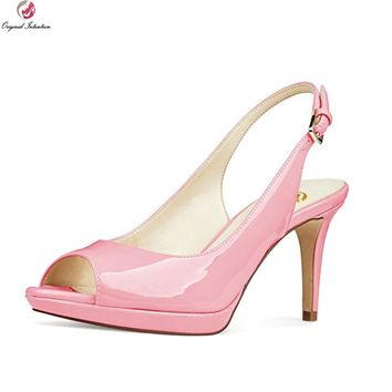 Original Intention New Sexy Women Pumps Fashion Peep Toe Thin Heels Pumps Patent Leather Blue Pink Nude Shoes Woman US Size 4-15