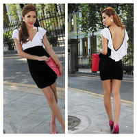 Black and White Color Block Backless Flounce Dress