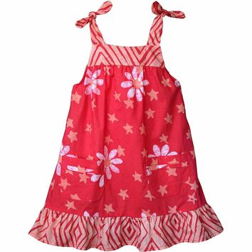 Fair Trade Girls Pocket Dress - Papaya
