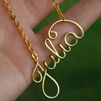 Personalized necklace, wire name necklace, brass wire necklace, your name necklace, love necklace, friendship, gift, christmas gift,
