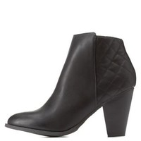 Black Quilted Back Chunky Heel Booties by Charlotte Russe