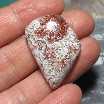Designer Cabochon Mexican Crazy Lace for Wire Wrapping Red and White