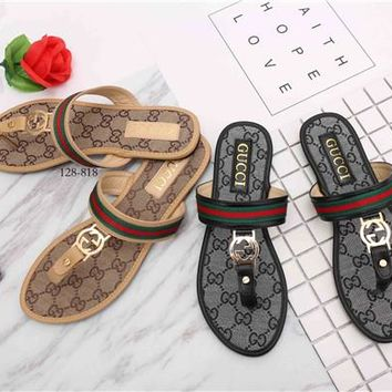 """Gucci"" Retro Fashion Multicolor Stripe Letter Buckle Print Pinch Sandals Slippers Women Casual Flats Shoes"