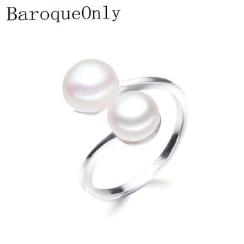 BaroqueOnly DOUBLE Pearls Ring Silver Interlaced Rings Freshwater Pearl Wedding Ring 925 Sterling Silver Jewelry for Women Gift